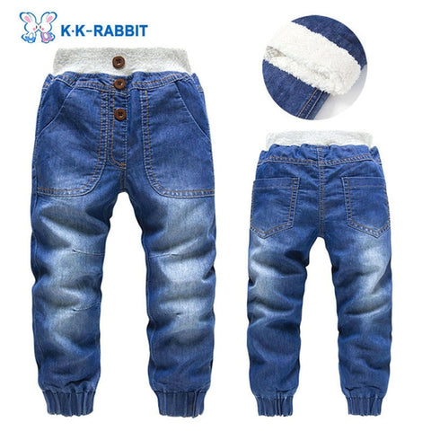 High quality thick winter warm cashmere kids baby pants Boys children's trousers children jeans