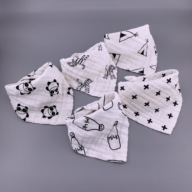 5pcs/lot Musiln Cotton baby bibs 4 layers Girls Boys Babador Bandana Bibs Bebe Triangle Feeding Burp Cloth Bebe Collar Scarf