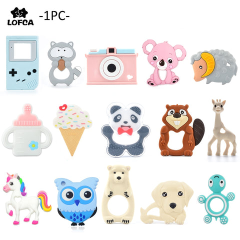 LOFCA 1pc Baby Teething Toys Cartoon Liquid Ice Cream Silicone Teether Pendant Raccoon Necklace Accessories Infant Chew Toys DIY