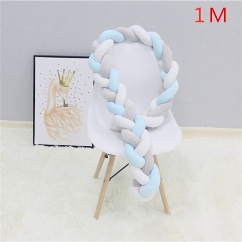 1M/2M/3M Baby Bumper Bed Braid Knot Pillow Cushion Bumper for Infant Bebe Crib Protector Cot Bumper Room Decor