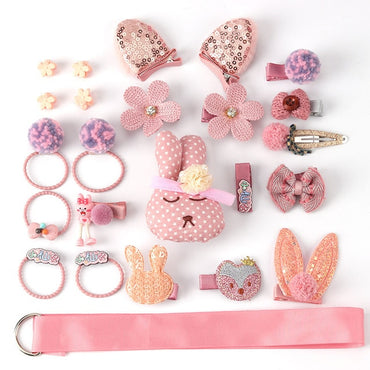 24 Piece hair clip set ,Cute cartoon hair accessories,Girl head rope bow flower animal headwear, Elastic hair band hair ring