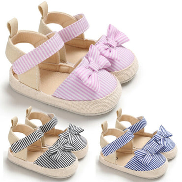 Newborn Baby Girl Striped Bow Sandals Soft Crib Shoes Infants Anti-Slip Sneaker Sandals New Bebe Girl Fashion Canvas Clogs 0-18M