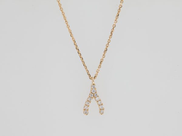 Wish Bone Diamond Necklace