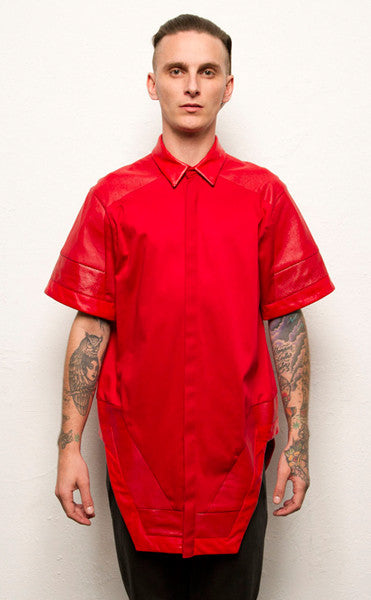 Short Sleeve Geo Button Up