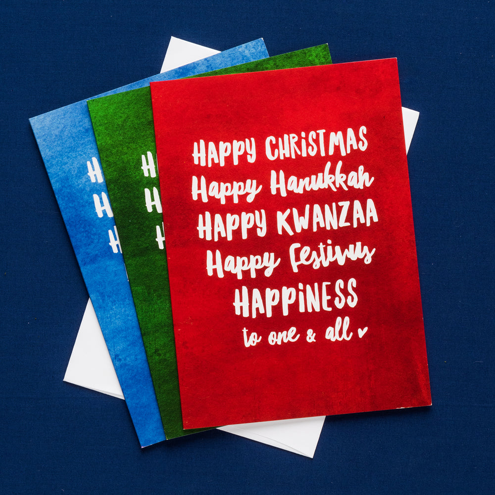 Multicultural Happy Holidays Card Trio