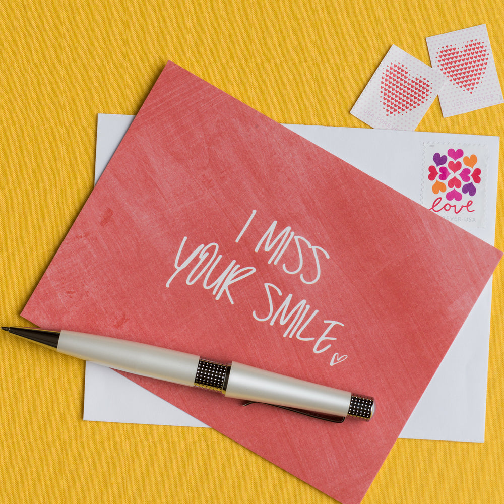 I Miss Your Smile Flat Greeting Card
