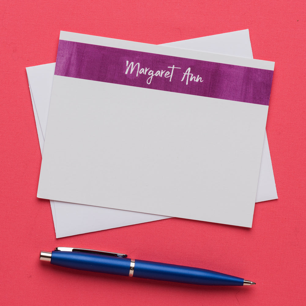 Color Band Personalized Notecards