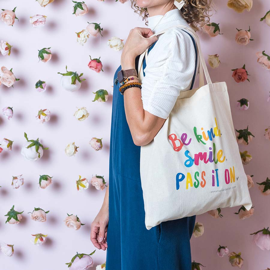 Be Kind. Smile. Pass it on. Tote Bag