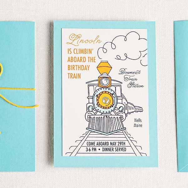 Vintage Birthday Train Personalized Invitations
