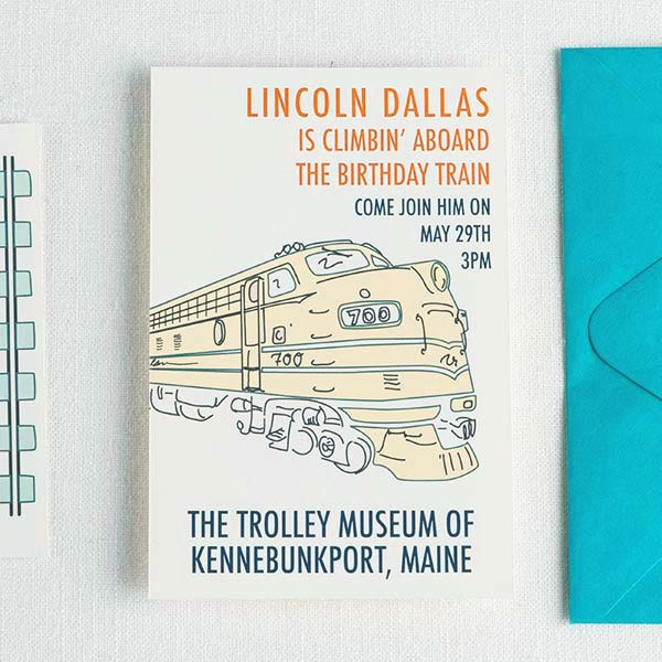 Retro Birthday Train Personalized Invitations