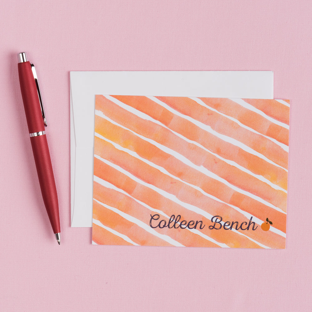 Orange Stripe Personalized Notecards