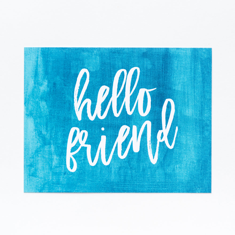 Hello, Friend notecards- Ocean Blue