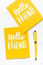 Hello, Friend notecards- Yellow