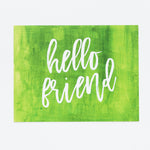 Hello, Friend notecards in Greenery