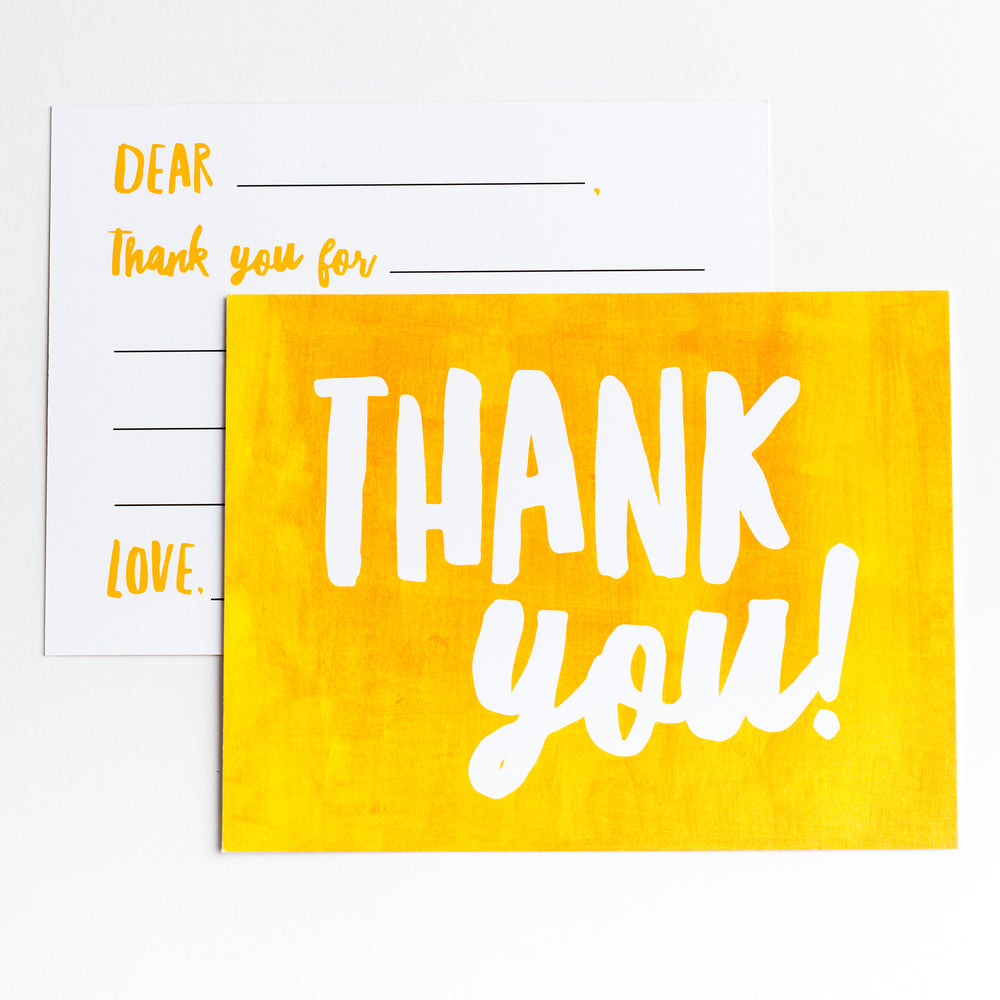 Kids Thank You notecards in Sunshine Yellow