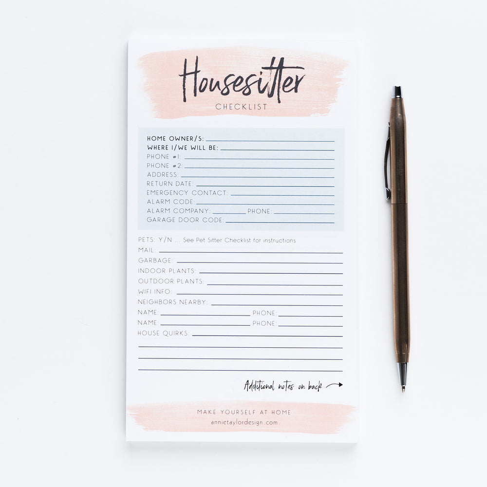 Jessica's House sitter Checklist notepad
