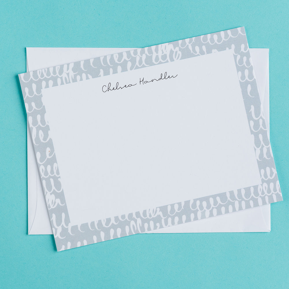 Gray Squiggles Personalized Notecards