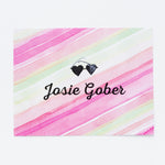 Kids Pink Watercolor Personalized Notecards