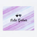 Kids Purple Watercolor Personalized Notecards