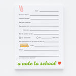 A Note to School notepad