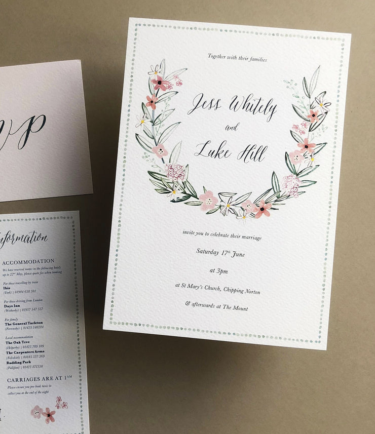 Blush & Green Wreath Invitation Sample