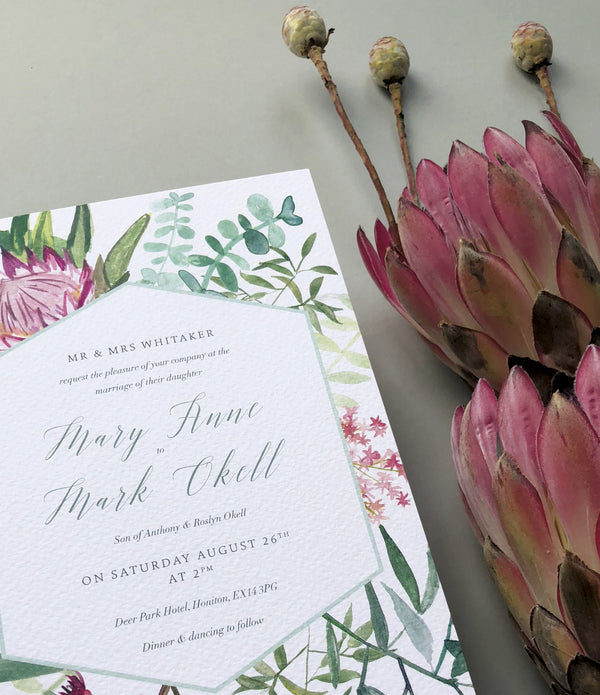 Protea Botanical Invitation Sample