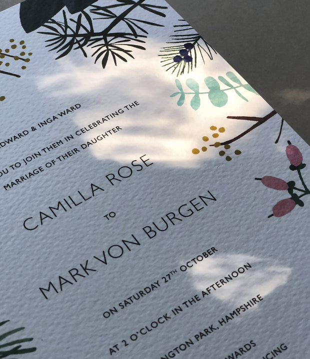 Cool Winter Botanics Invitation Sample