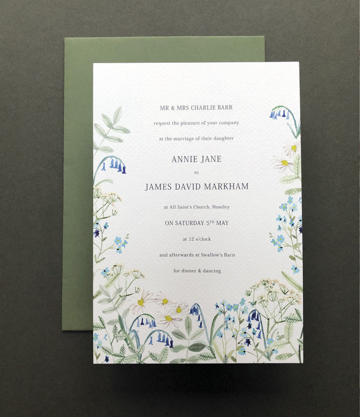 Wild Blue Hedgerow Invitation Sample