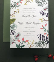 Warm Winter Botanics Invitation Sample