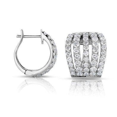 Diamond Multi-Row Huggie Earrings