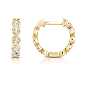 Diamond Bezel Set Huggie Earrings