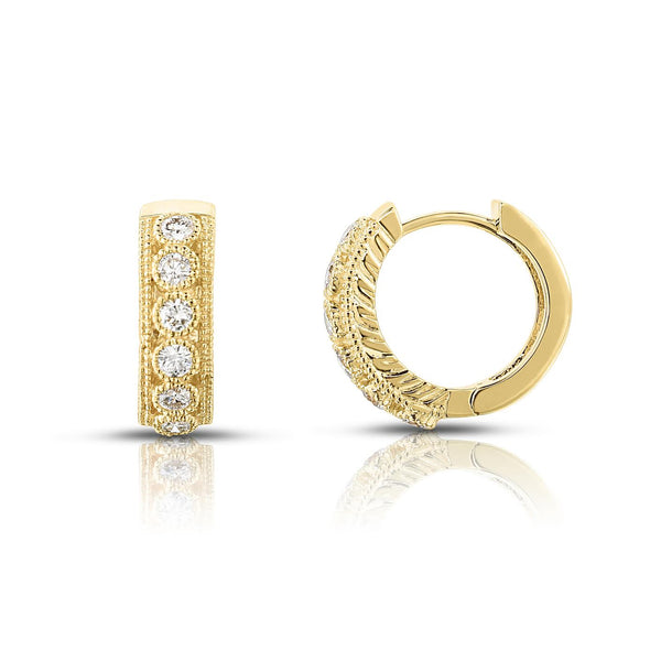 Diamond Bezel Set Migraine Huggie Earrings