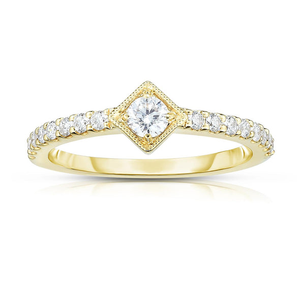 14K Yellow Gold Diamond Square Center Stackable Ring