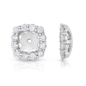 Diamond Cushion Cut Halo Earring Jackets