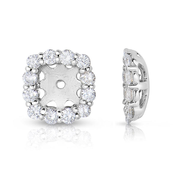14K White Gold Diamond Cushion Cut Halo Earring Jackets