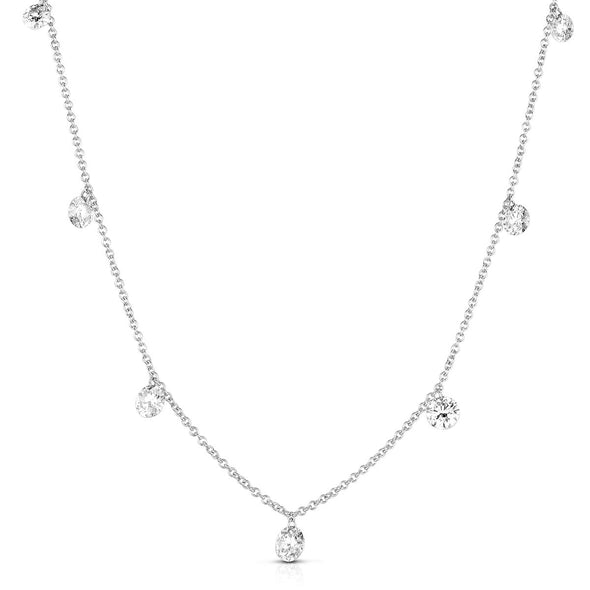 14K White Gold Drilled Diamonds Dangle Necklace