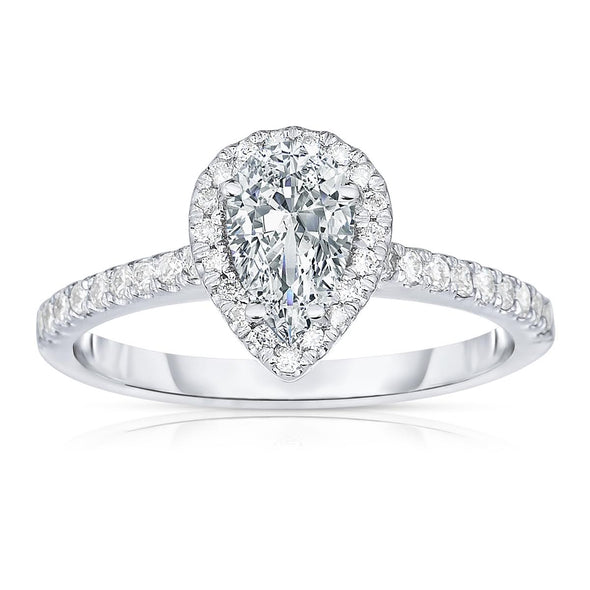 Platinum Pear Shaped Diamond Engagement Ring with Diamond Halo