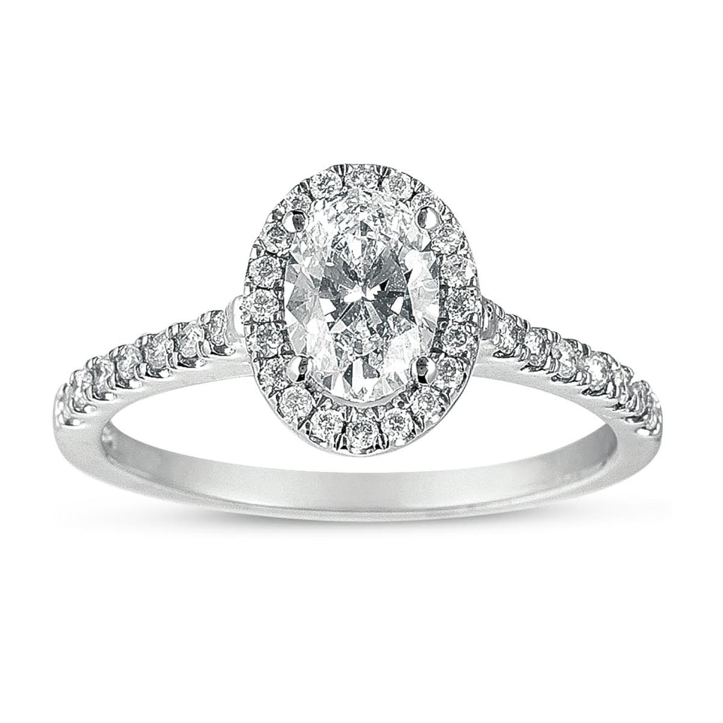 14K White Gold Oval and Diamond Halo Engagement Ring