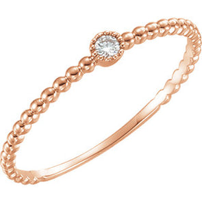 14K Rose Gold Diamond Bead Design Ring