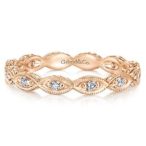 14K Rose Gold Diamond Eternity Stackable Band