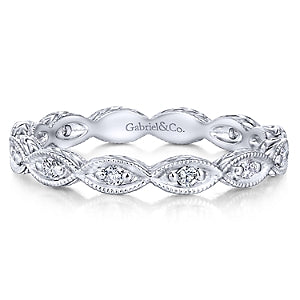 14K White Gold Diamond Eternity Stackable Band