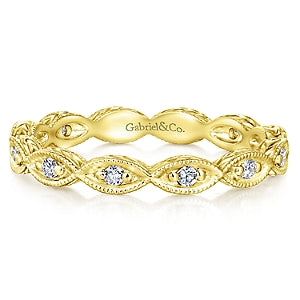 14K Yellow Gold Diamond Eternity Stackable Band