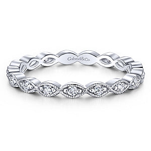 14K White Gold Diamond Stackable Small Eternity Band