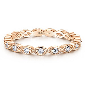 14k Rose Gold Diamond Stackable Small Eternity Band