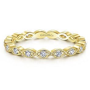 14K Yellow Gold Diamond Stackable Small Eternity Band
