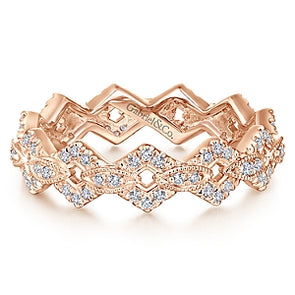 14K Rose Gold Diamond Fashion Stackable Eternity Band