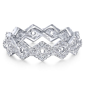 14K White Gold Diamond Fashion Stackable Eternity Band