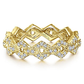 14K Yellow Gold Diamond Fashion Stackable Eternity Band