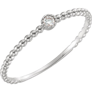 14K White Gold Diamond Bead Design Ring
