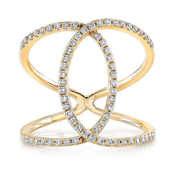 14K Yellow Gold Diamond Intertwined Circle Ring